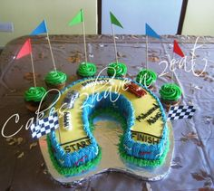 RACE CAR CAKE - MARBLE CAKE AND CUPCAKES BEAUTIFULLY DECORATED WITH BUTTERCREAM ICING!