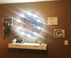 """DIY vanity mirror and vanity. Easy and basic """"Standing vanity"""" (no chair and shelf is mounted at bar top height) using IKEA Ekby Alex shelf, existing mirror and a vanity light kit off Amazon. Existing DIY jewelry organizer with cork board, I made previously, on the left. #vanity #mirror #vanitylights #lightedmirror #DIYvanity #DIYlightedvanitymirror"""