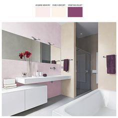 Łazienka skąpana w tonacji lawendowego różu, brzoskwini, orzecha i alabastrowej bieli armatury to zaciszne wnętrze pełne naturalnej przytulności.