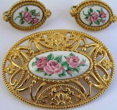 Vintage Victorian Rose Set Brooch Clip On Earring Avon Pin #Avon