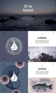 Gorgeous illustrations, animations and transitions in this nautical-themed One Pager telling the story of a journey from Britain to the Canaries by sea.