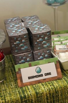 Diamond ore at a Minecraft birthday party! See more party ideas at CatchMyParty.com!
