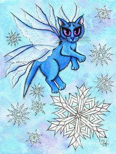 Winter Snowflake Fairy Cat - Fine Art America Pixels, Carrie-Hawks.Pixels.com   Copyright - Carrie Hawks, Tigerpixie Fantasy Cat Art. More Prints, Jewelry & Gift Items featuring this image are available on my website - Tigerpixie.com