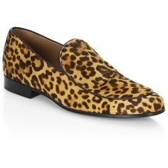 Gianvito Rossi Leopard Print Leather Loafers (€930) ❤ liked on Polyvore featuring men's fashion, men's shoes, men's loafers, mens leather loafers, mens leather loafer shoes, mens leopard loafers, mens slip on shoes and mens slip on loafers