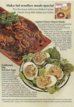 Lipton Onion Soup Original 1965 Vintage Print Ad Color Photo Recipes: Lipton Onion Chuck Steak & California Dip Deviled Eggs