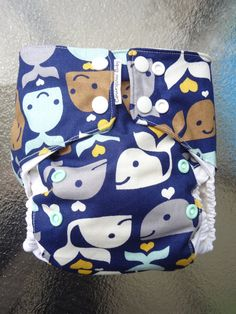 Cute diaper   whale one size pocket cloth diaper by courageousinc on Etsy, $20.00