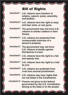 This is a shorter and much simpler version of the bill of rights. The bill gives the good people of America their individual freedoms. The Bill of rights is apart of the US constitution. Us History, History Facts, American History, Black History, History Timeline, American Literature, American Presidents, American Pride, Ancient History