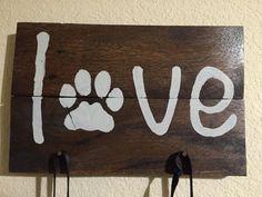 Dog Leash Holder Rustic Pallet Love Sign