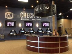sweet welcome/info desk at river valley church in apple valley mn. Ray hanging out at the desk.