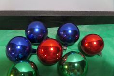 Vintage Polish Red, Green, and Blue Mercury Glass Feather Tree Ornaments - 7 - Handblown by TSUSENCOLLECTIBLES on Etsy
