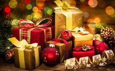 Download wallpapers New Year, 4k, xmas, gifts, Christmas, christmas decorations, Happy New Year