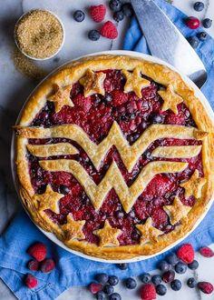 Cranberry, Raspberry and Blueberry Wonder Woman Pie