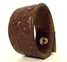 Distressed Brown Leather Cuff  Tooled floral by honeyblossomstudio