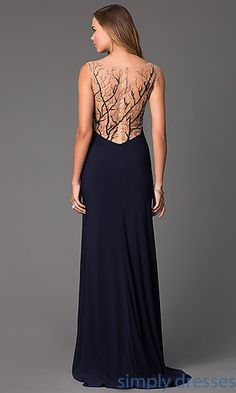 Shop long navy blue gowns with sheer backs and side slits at SimplyDresses. Unique beaded sheer back prom gowns with V-necks.