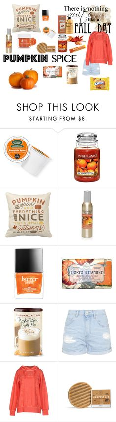 """""""Pumpkin Spice & Everything Nice"""" by angela-skies ❤ liked on Polyvore featuring beauty, Keurig, Yankee Candle, Butter London, Nesti Dante, Topshop, Mary Cotton Couture, Ilike Organic Skin Care, ootd and autumn2015"""