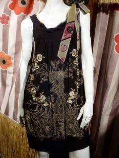 Christian La Croix 1990 Shift Bubble Dress Embroidered Garden of Earthly Delights Silk France Chinoise