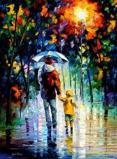 Cette oeuvre a été réalisé par Leonid Afremov. Au premier plan, je vois un enfant et son père avec un parapluie bleu pâle qui sont superposé sur des arbres avec des feuilles à couleurs vives. Cette peinture représente l'amour entre un enfant et son père, ce qui me fait ressentir beaucoup de tendresse lorsque je regarde ceci. J'adore également la texture des vêtements sur ce tableau.