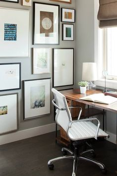 Kelly Deck Design // Home office // love the collage wall