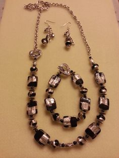 Black and silver necklace with toggle clasp, matching bracelet and earrings.-SOLD!!