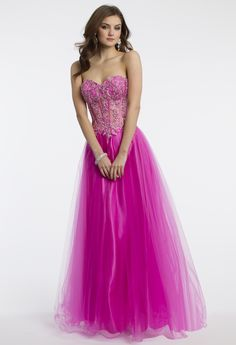 Camille La Vie Illusion Prom Dress with Tulle Skirt