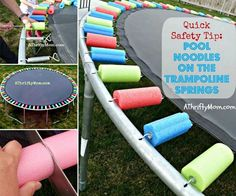 Here's a great way to keep the kids safe on the Trampoline and all you need are pool noodles.  It's so easy!