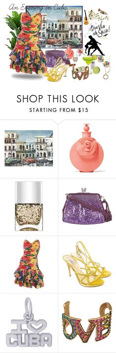 """""""A Musical Evening in Cuba"""" by gypsy-jo ❤ liked on Polyvore featuring Valentino, Nails Inc., Judith Leiber, Versace, Rembrandt Charms and Gucci"""