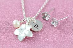 Personalized Flower Girl Jewelry Set Initial Necklace and Earrings 925 Sterling Silver Flower Girl Jewelry, Girls Jewelry, Jewelry Sets, Perfect Gift For Girlfriend, Girls Necklaces, Initial Necklace, Beautiful Necklaces, Artisan Jewelry, Necklace Lengths