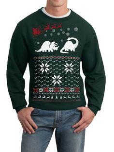 Ugly Christmas sweater -- Santa Dinosaur -- pullover sweatshirt -- s m l xl xxl xxxl  -