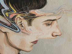 New Zealand illustrator Henrietta Harris is a skilled watercolor artist. This series of portraits expresses everyday sensory interference by way of de. Kunst Inspo, Art Inspo, Art And Illustration, Kunst Portfolio, Watercolor Artists, Watercolor Trees, Watercolor Portraits, Watercolor Landscape, Watercolor Painting