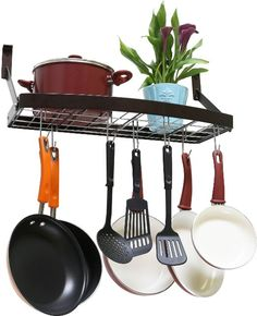 Amazon.com: DecoBros Wall Mount Square Grid Pot Pan Rack includes 8 hooks, 25 by 12-inch: Home & Kitchen