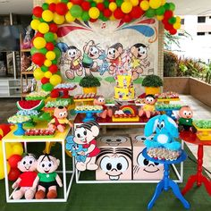 One of the coolest classes in the world is the theme chosen for many children's parties. Monica (and her inseparable Sansão), Cebolinha, Cascão, Magali Monster Inc Party, It's Your Birthday, Birthday Parties, Maria Valentina, Candy Stand, Fake Cake, Fun World, Guest Gifts, Crepe Paper