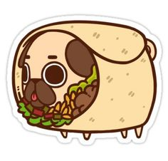 Drawings Ideas Puglie Burrito - Wrapped in a warm, delicious blanket! — Individual die cut stickers are roughly and are laminated with a soft matte finish, waterproofed, and UV protected. Cute Kawaii Drawings, Cute Animal Drawings, Kawaii Art, Pug Wallpaper, Iphone Wallpaper, Pug Cartoon, Pug Art, Aesthetic Stickers, Cute Stickers