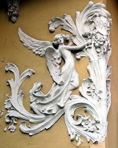 plaster frieze detail on a building in Barcelona