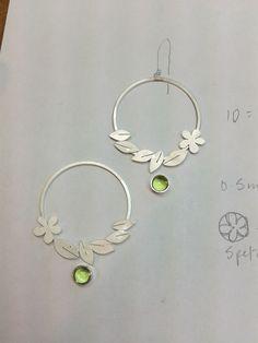 Flower and leaf earrings. In progress. By Diana Greenwood