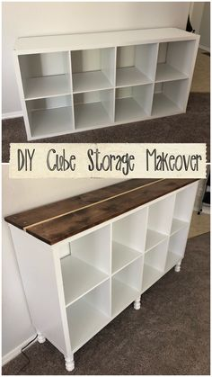 Take that boring cube storage and turn it into a cute and functional console table. Add some legs and a stained top to take it from drab to fab. Diy Furniture Projects, Repurposed Furniture, Furniture Makeover, Home Projects, Furniture Storage, Diy Projects For Bedroom, Diy Home Furniture, Dresser Furniture, City Furniture