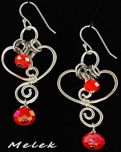 Wireworked Heart Earrings by melekdesigns, via Flickr