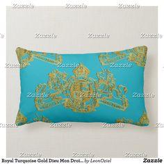 Royal Turquoise Gold Dieu Mon Droit Coat of Arms Lumbar Pillow Custom Pillows, Decorative Throw Pillows, Gold Pillows, Coat Of Arms, Lumbar Pillow, Knitted Fabric, British, Turquoise, Knitting