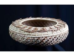 Pine Needle Basket (4 x 11 inches, undyed Coulter Pine needles), Carolyn Zeitler