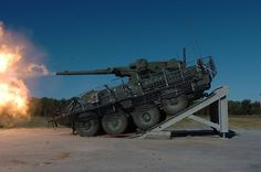 87cdd9a713b3a Stryker M1128 Mobile Gun System firing its M68A2 105 mm cannon   TankPorn