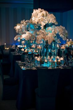 Beautiful Blue and White reception wedding flowers,  wedding decor, wedding flower centerpiece, wedding flower arrangement, add pic source on comment and we will update it. www.myfloweraffair.com can create this beautiful wedding flower look.