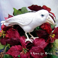 Primitive White Raven Decoration measures approximately: 13 inches Long and 5 1/2 inches Tall. $45.00+ Shipping