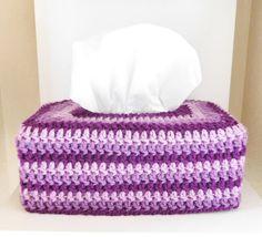 Crochet Tissue Box Cozy  Purple Bathroom by stickshooksandyarn