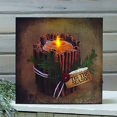 Lighted Cinnamon Sticks Canvas With Timer