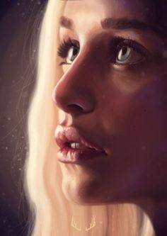 """Daenerys"" - Marta G. Villein {figurative art beautiful blonde female head close-up young woman face portrait digital painting}"