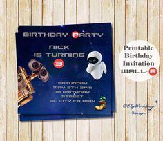 Wall E Birthday Invitation And Eva By ElfsWorkshopDesign