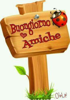 Buongiorno amiche Italian Greetings, Italian Memes, Happy Birthday Quotes, Day For Night, Emoticon, Good Mood, Happy Day, Wall Collage, Smiley