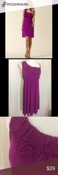 cdb2a9fc66d Soma One Shoulder Soft Jersey Knit Dress Size XL Soma One Shoulder Chiffon  Applique Purple Dress