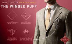 The winged puff is one of my favorite pocket square folds Pocket Square Folds, Pocket Squares, Pocket Handkerchief, Suit Shop, Cool Ties, Mr Porter, Costume, Formal Looks, Men's Wardrobe