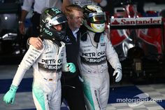Second place Nico Rosberg, Mercedes AMG F1 and race winner Lewis Hamilton, Mercedes AMG F1 #Australia2015