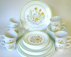 """48-Pc Corelle """"Meadow"""" Dinnerware (Service for Eight)"""